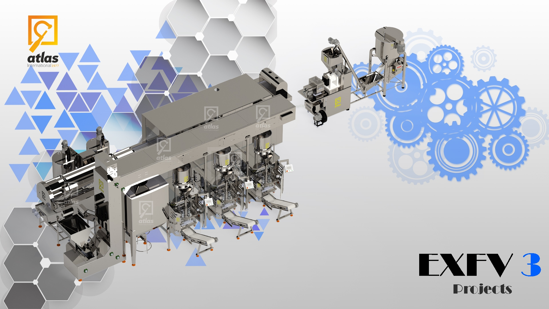 Corn chips production line project for 200 kg equipped with a three-layer oven and volumetric filling machines