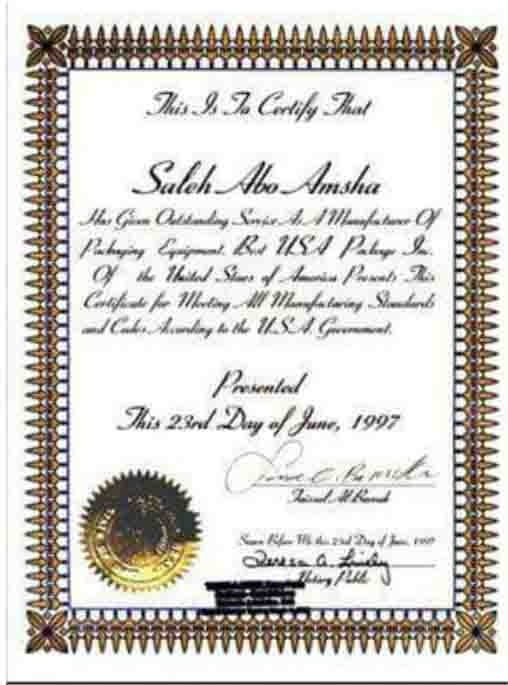 Certificate of Excellence in the manufacture of packaging machines from the USA in 1997