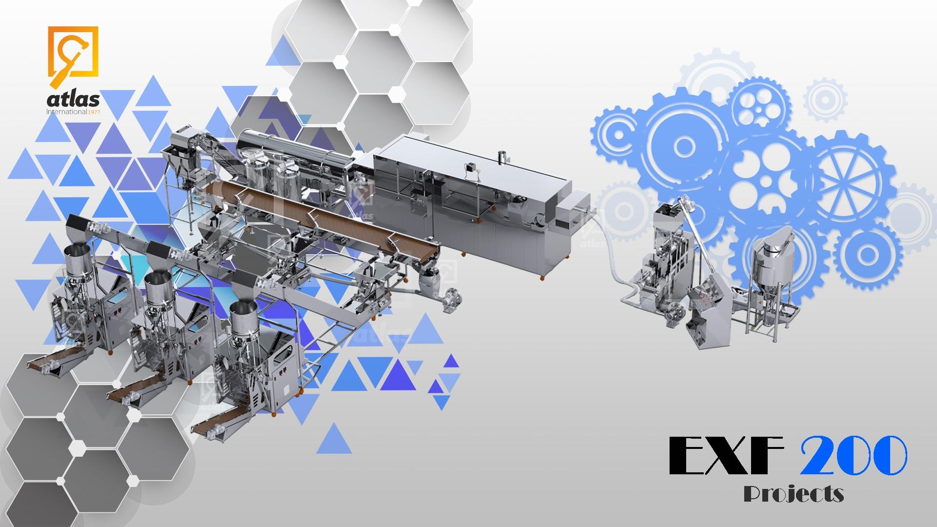 خط إنتاج وتعبئة شيبس الذرة 200كغ/س مع مكنات تعبئة وتغليف حجمية