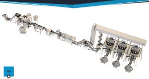 Frying line of pelt chips 250 k / h with three weight filling machines