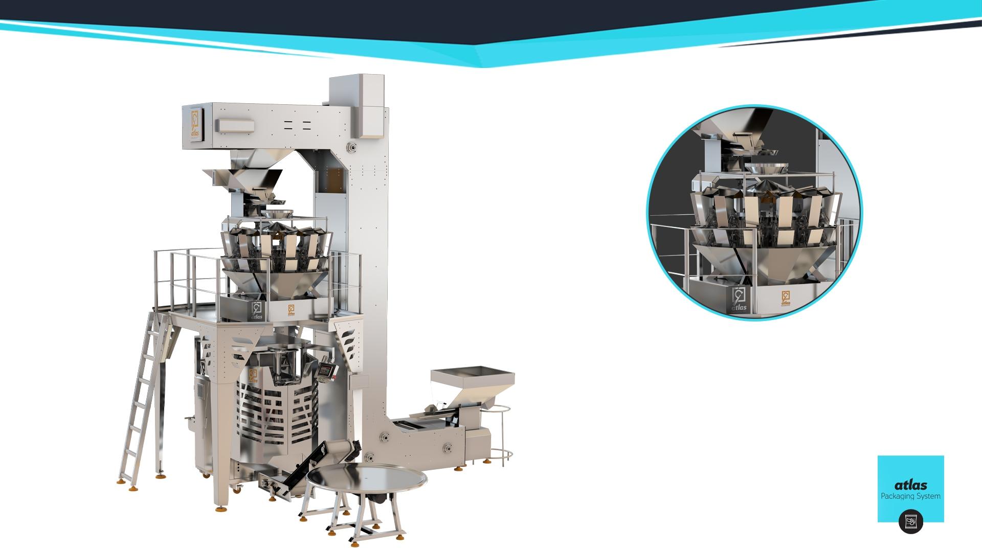 خط تعبئة وتغليف وزنية محركات سيرفو  / شيبس - مكسرات - سكاكر - شاي-تمور PMWF 80