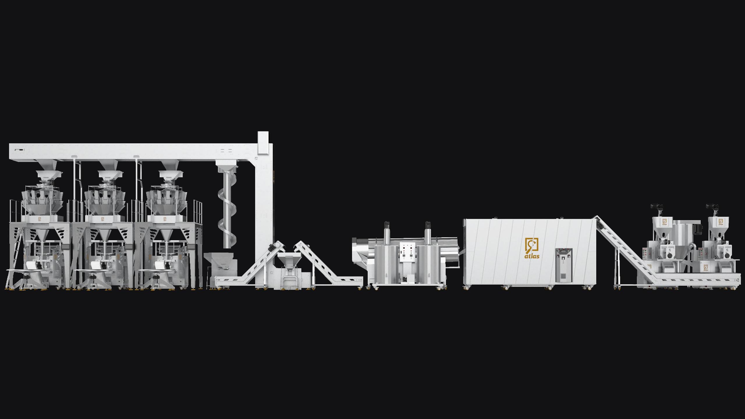 خط انتاج شيبس الذرة 400 ك/سا مجهز بفرن ثلاث طبقات مع مكنات تعبئة وزنية